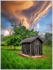 Goodbye little shack (Jean-Michel Priaux) Tags: door wood roof sky france art strange field grass illustration clouds photoshop garden painting spring nikon meadow dramatic jardin ciel cover pasture alsace shack shelter maison printemps bizarre hdr herbe anotherworld smallhouse terri