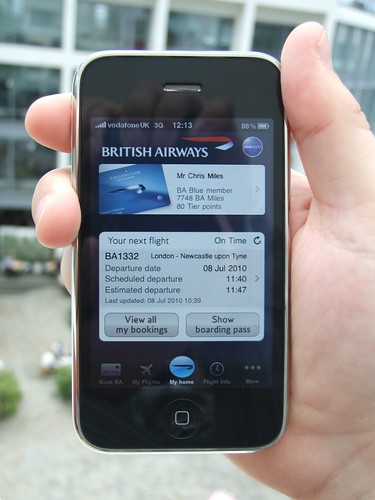 BA mobile app for iPhone - Home page