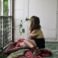littlebonnie (yyellowbird) Tags: camping house selfportrait abandoned girl square illinois blanket porch cari plaid