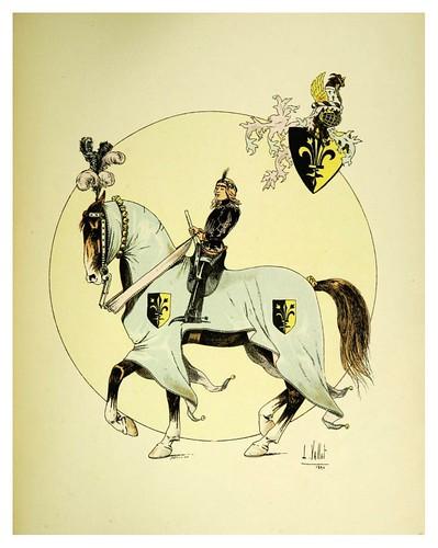 010-Entrada a la Villa de los combatientes en un torneo-Le chic à cheval histoire pittoresque de l'équitation 1891- Louis Vallet