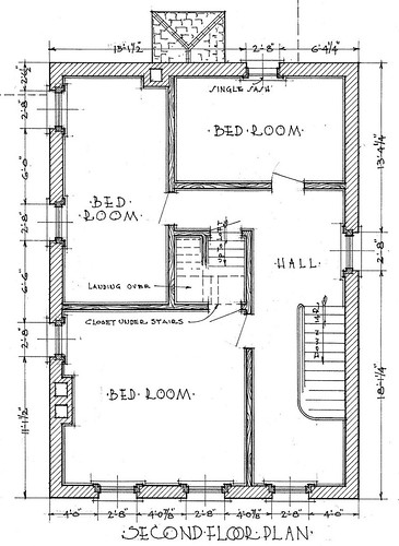 The Warren House, drawing 2 (detail)