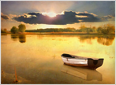Lonely boat (Jean-Michel Priaux) Tags: sunset sun sunlight lake france art nature water fairytale photoshop river landscape boat fishing nikon eau flood lac calm reflect alsace swamp serenity lonely marsh paysage hdr anotherworld seul mattepainting littleboat ried d90 paisible ebersmunster priaux mywinners ebersheim muttersholtz ehnwihr digitalflood
