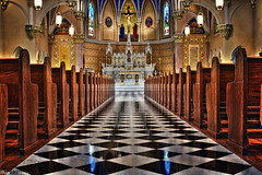 Empty Aisles (Smackthatbird) Tags: church beautiful lines architecture canon virginia vanishingpoint pattern churches symmetry altar roanoke standrews pews hdr rockymount hypnotic aisles 550d compositionlines t2i eyedrawing classicalchurch