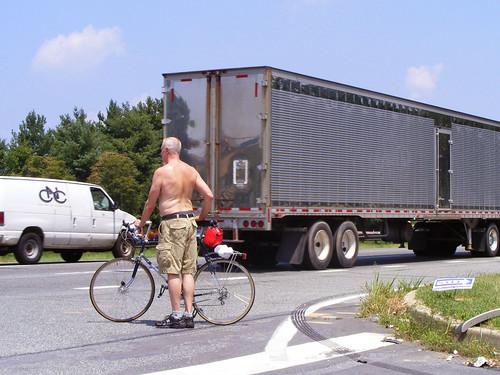 Shirtless Guy and Bike, Route 29 at Musgrove Road