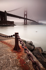San Francisco Golden gate bridge under the fog #1 (Blurry World) Tags: ocean sanfrancisco longexposure bw beach marina canon rocks waves 110 goldengatebridge lee nd anchor bayarea l 1740mm gnd marinecounty nd09 bwnd110 5dmarkii leefilterholder graduatedfiltergnd09