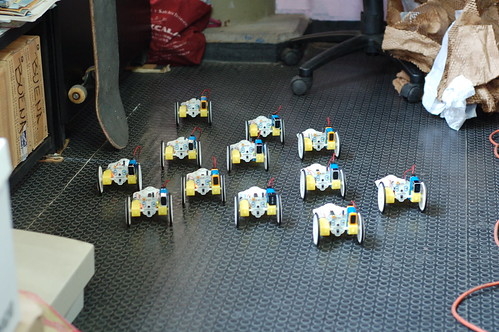 12 robots running around