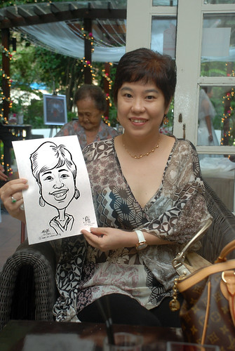 caricature live sketching for David & Christine wedding dinner - 1