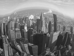 1. Manhattan N.Y. fish-eye look in black & white (PictureJohn64) Tags: new york usa white ny black america buildings minolta manhattan fisheye konica amerika dimage z20 picturejohn64