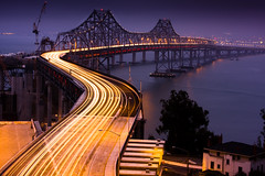 What is will soon not be! (Blue Hour) Tags: sf bridge lights oakland explore freeway baybridge frontpage