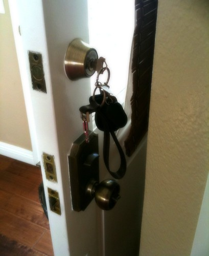 My keys in the door.