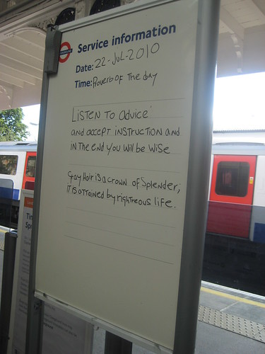 Kew Gardens Tube - Proverb of the Day  by Annie Mole