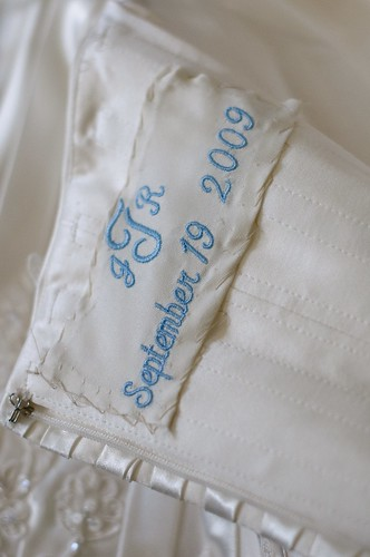 The embroidered swatch was sewn into my wedding gown Turner Something Blue