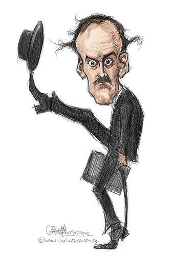 digital caricature of John Cleese - 2 colour small