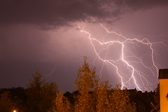 And God said, Let there be light! (zanyflash) Tags: light cloud tree night licht energy nacht energie flash gray wolke grau thunderstorm lightning blitz gewitter baum struck einschlag