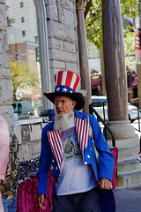 Patriot Walking the Streets of Downtown Missoula (CT Young) Tags: montana streetphotography missoula unclesam streetcandid missoulamt missoulamontana streetshooting canonef50mm18 canonef50mmf18mkii downtownmissoula canonprimelens missouladowntown missoulasaturdaymarket downtownmissoulamt downtownmissoulamontana dowtownmissoulamt