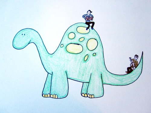 They Might Be Giants on a dinosaur I drew in high school.