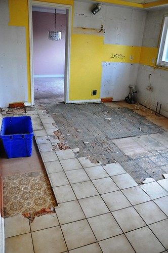 underneath the kitchen floor was an even uglier floor once