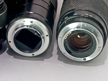 Minolta Mount lenses: Rokkor (left) Maxxum A-Mount (right)