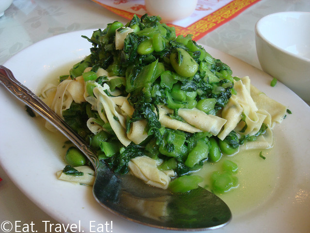 Bean Curd Skin with Mustard Greens and Soy Beans