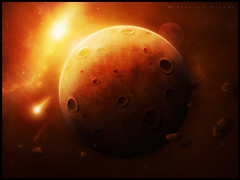 ASTEROID PLANET - digital-art (BaltasarVischi) Tags: mars moon photoshop fire space planet meteor marte galaxia universo baltasar vischi