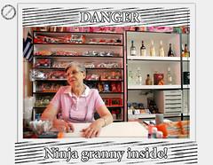 Ninja Granny inside (blackhalos) Tags: funny shot greece robbery granny fearless minimarket