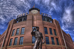 Colorado Rockies at Coors Field (Thad Roan - Bridgepix) Tags: blue sky building clock statue architecture clouds rockies colorado baseball stadium flag americanflag denver lookup hdr ballpark coors coorsfield facebook lodo redbrick mlb 201007