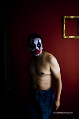 . (Cesar1t0) Tags: portrait selfportrait color male art naked nude photography photo rojo arte retrato clown autoretrato soledad fotografia payaso hombre desnudo obscuro depresion