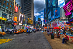 Times Square - 20100806-20100806-JAP_7364-Photoshop (pennuja) Tags: new york city nyc bus square day chairs cloudy manhattan hollywood transit mtv planet times hdr hdri geocity exif:iso_speed=100 exif:focal_length=11mm camera:model=nikond200 exif:model=nikond200 geostate geocountrys exif:aperture=80