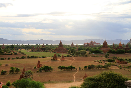 Temple vista at sunset Bagan