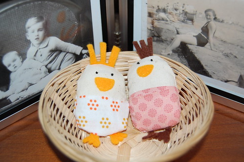 My sister and I made these chickens with our rarely used sewing machines