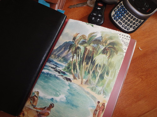 moleskine covered with vintage hawaiian menu art  with vintage cruise menu peeking out at corner