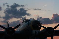 """B-17 """"Liberty Belle"""" (FlyinPhotog) Tags: sunset clouds airplane contrail michigan airshow b17 ypsilanti boeing propeller flyingfortress warbird libertybelle thunderovermichigan"""