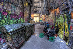 The Meeting Place (William Bullimore) Tags: people urban architecture trash buildings alley paint grafitti pavement au meeting australia melbourne victoria urbanart lane rubbish boxes talking hdr trashbins hdri flinderslane rubbishbins urbansetting milkcartons urbanarchitecture urbanenvironment canonef15mmf28fisheye canon5dmkii bestcapturesaoi elitegalleryaoi mygearandmepremium