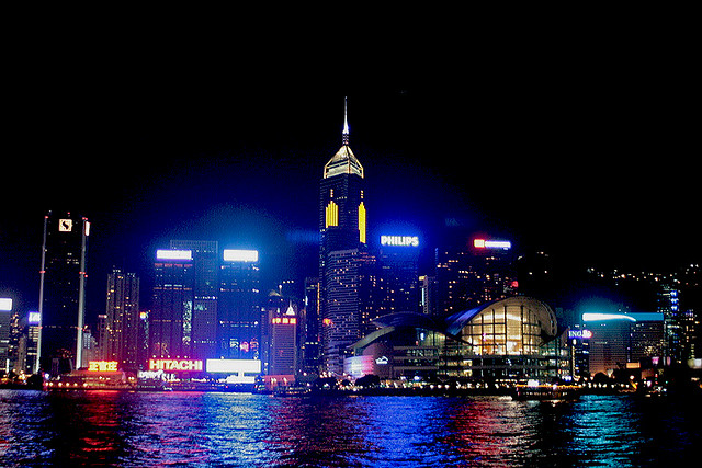 Kowloon side is equally lit up but I seem to prefer the HK island panorama - this is Wanchai