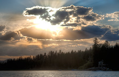 boom (Philerooski) Tags: light sunset sun clouds ray wa hdr highdynamicrange diamondlake