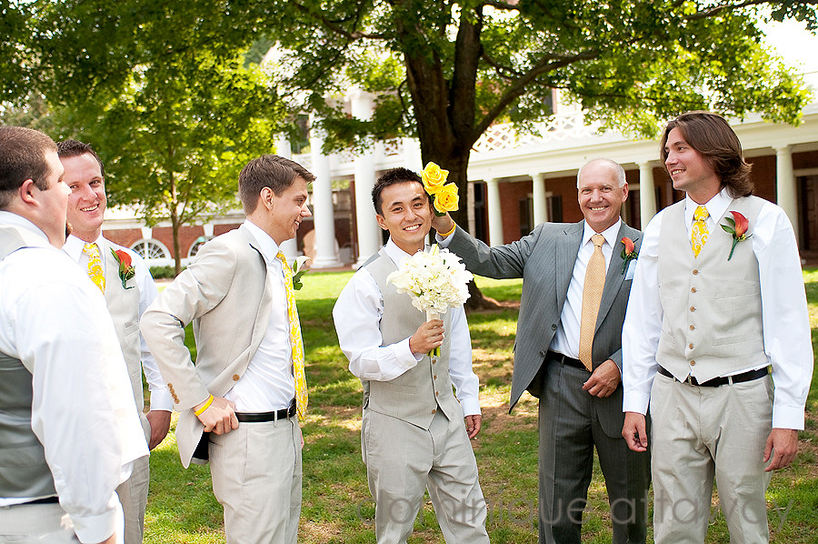 UVA lawn groom and his groomsmen