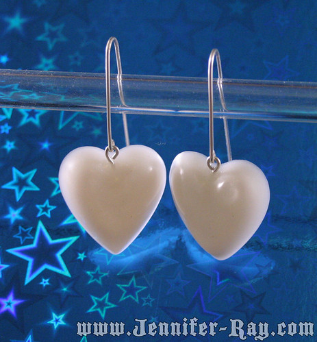 White heart resin earrings with sterling silver ear wires