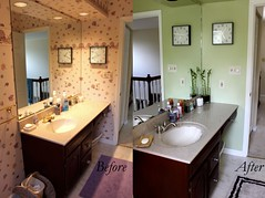 Before & After: The Vanity (Taylor Mc) Tags: wallpaper brown green wall project paper bathroom shower during bath paint sink vanity toilet before seashell after