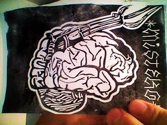 """USE YOUR HEAD""  new linoprint coming soon (mr GREN) Tags: television ink diy tv gun shot handmade brain stamp linocut linoprint useyourhead"