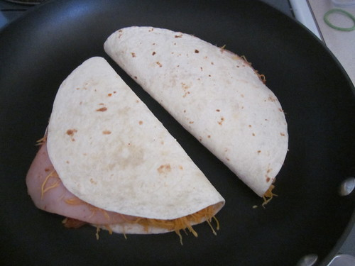 Tortillas folded in skillet