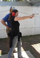 Joanna Penn with revolver