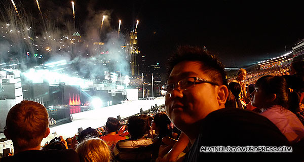 Me grabbing a shot before the first volley of fireworks trailed off