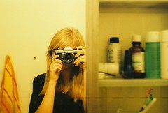 Medicine Cabinet (Lauren Fowler) Tags: selfportrait film 35mm bathroom mirror towel pentaxk1000 medicinecabinet
