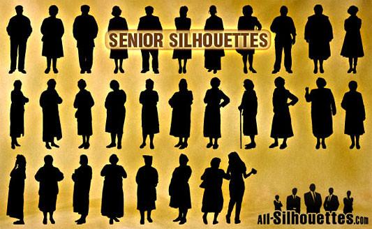 Click en la imagen para descarga 29 Siluetas en formato vector - Personas mayores