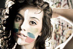 War Paint (Andy S. Foster) Tags: light brown lauren art andy girl fashion marie modern canon hair lens 50mm prime back high war paint background bees alien makeup s bee foster photograph catch fixed backlit rim tuttle softbox splatter f15 catchlights vagabond splattered b800 b800s 40d fostography