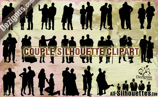 Click en la imagen para descarga 12 Siluetas en formato vector - Personas en grupo