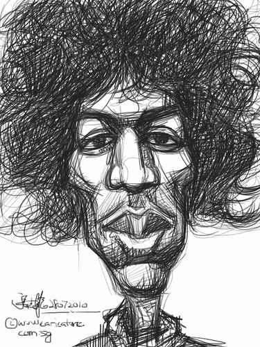 digital caricature of Jimi Hendrix - drawn with iPad Sketchbook Pro