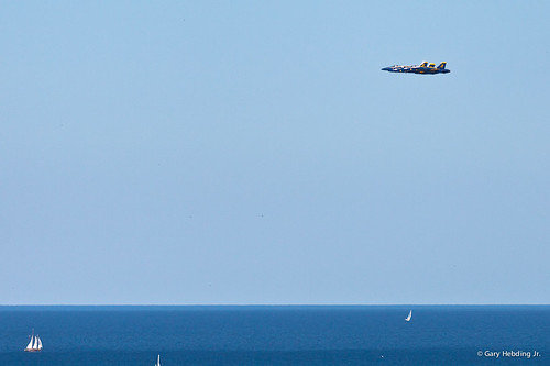Blue Angels flying over Lake Michigan