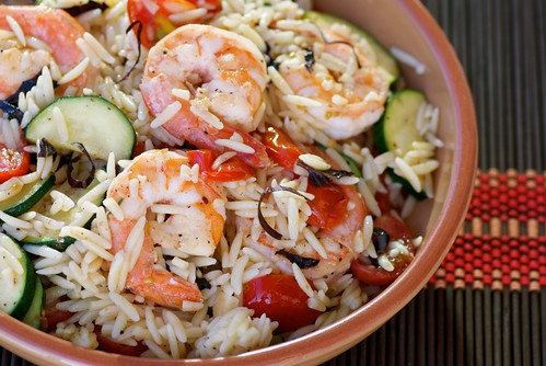 orzo with shrimp, zucchini, tomatoes, and purple basil