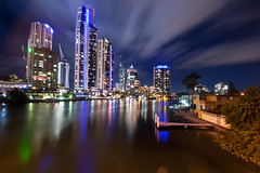 gold coast city (Pawel Papis Photography) Tags: city bridge trees light vacation sky holiday reflection water night clouds canon buildings reflections river circle lights hotel pier boat bush crane jetty platform hilton craft australia wideangle soul highrise queensland bathtub dri cityatnight bulding goldcoast pawel wakacje q1 10mm residentialbuildings dynamicrangeincrease residentialbuilding highrisebuildings commercialbuilding budynki digitalblending sigma1020 cavill buildingsatnight commercialbuildings holidaydestination canon400d q1building circleoncavill lnogexposure highriseatnight goldcoastatnight hiltongoldcoast blurclouds bluredsky soulcrane smallbeachatriver